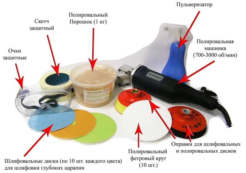 материалы и инструмент для полировки