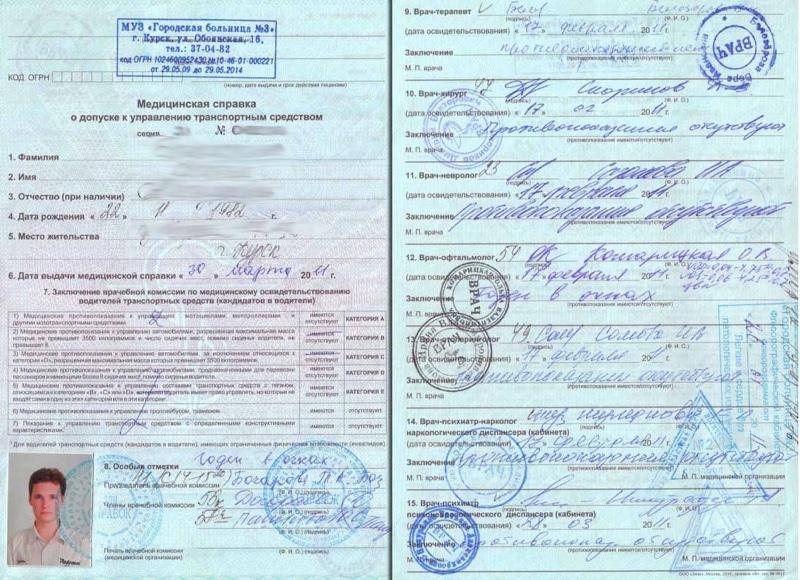Прохождение мед комиссии для получения водительских прав