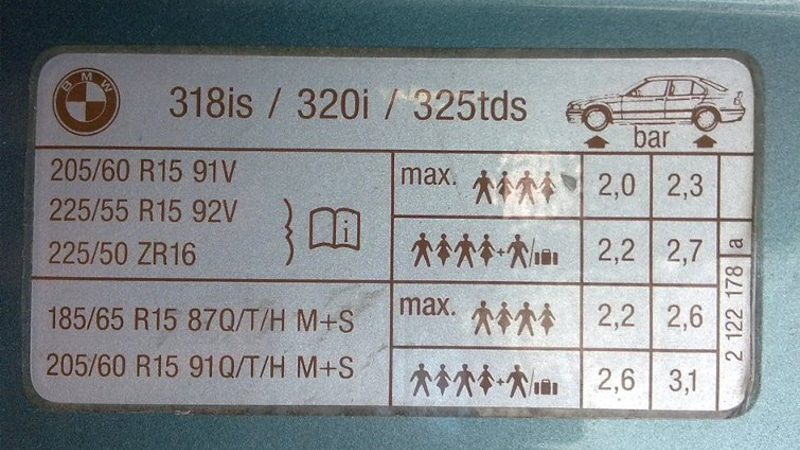 таблица давления в шинах автомобиля