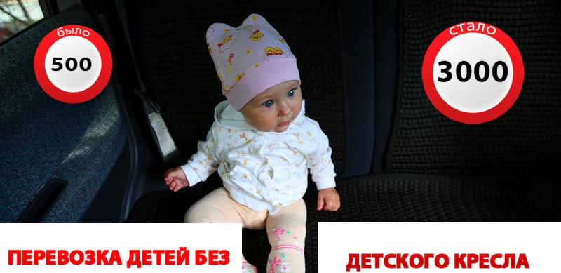 какой установлен штраф за отсутствие детского кресла в России