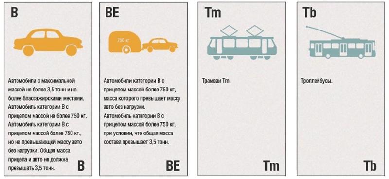 какие действуют на сегодня категории водительских прав