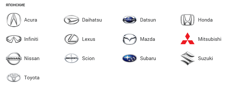 где найти все марки японских машин и их значки с названиями и фото