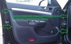 как осуществляется снятие обшивки водительской двери на иномарке