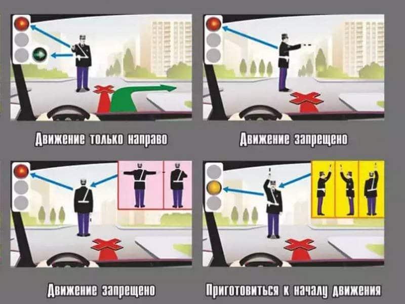 какие бывают сигналы светофора и регулировщика