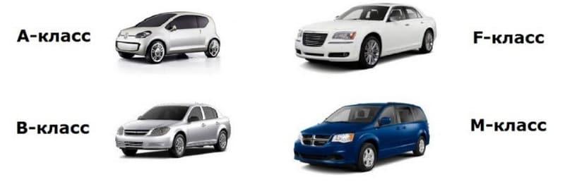 какая классификация автомобилей по классам в таблице