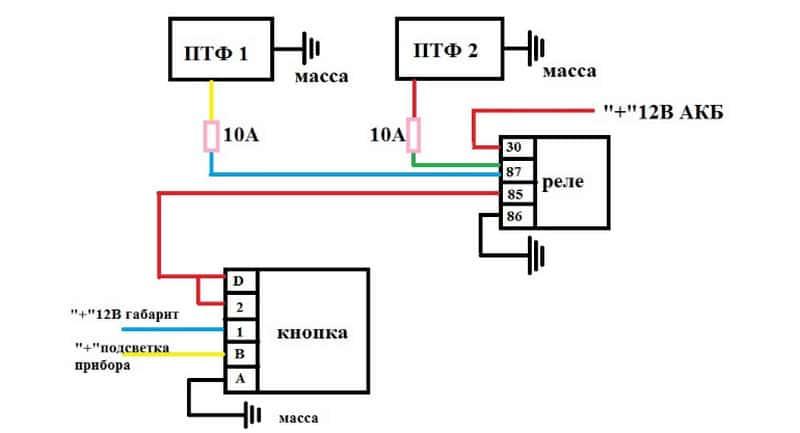 схема подключения противотуманок через реле