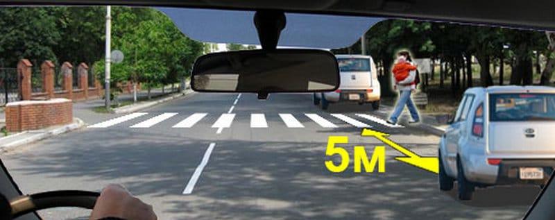 какие правила парковки у пешеходного перехода
