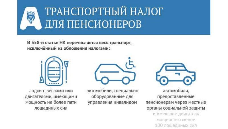 сколько налог на транспортное средство для пенсионеров