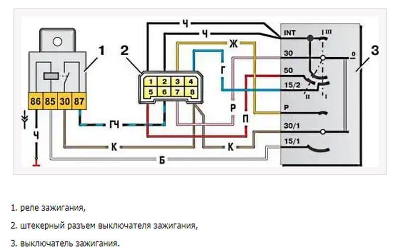 какая схема подключения замка зажигания ВАЗ-2109