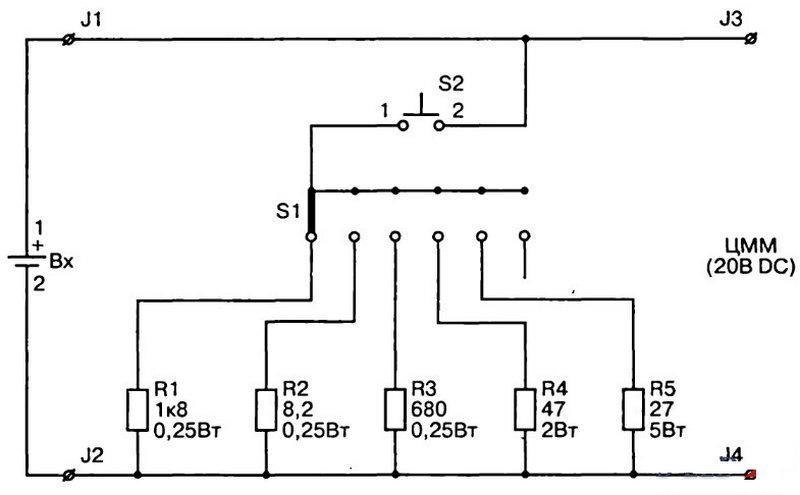 схема нагрузочной вилки для проверки аккумулятора своими руками